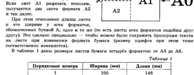 Общепринятые формаы листов бумаги обозначают буквой А и цифрой: А0, А1, А2 и так далее.